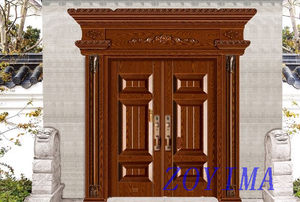 Z0YIMA/ G & K Great Door - Metal Seucrity Door Dark Wood Sunshine-proof Color ZYM-M2012
